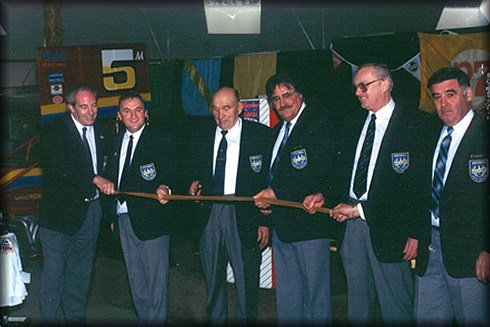 Andre Cottyn, founder of Victoria's Western Speedway, cuts the ribbon to open the Victoria Auto Racing Hall of Fame Museum facility adjacent to the Speedway in 1991